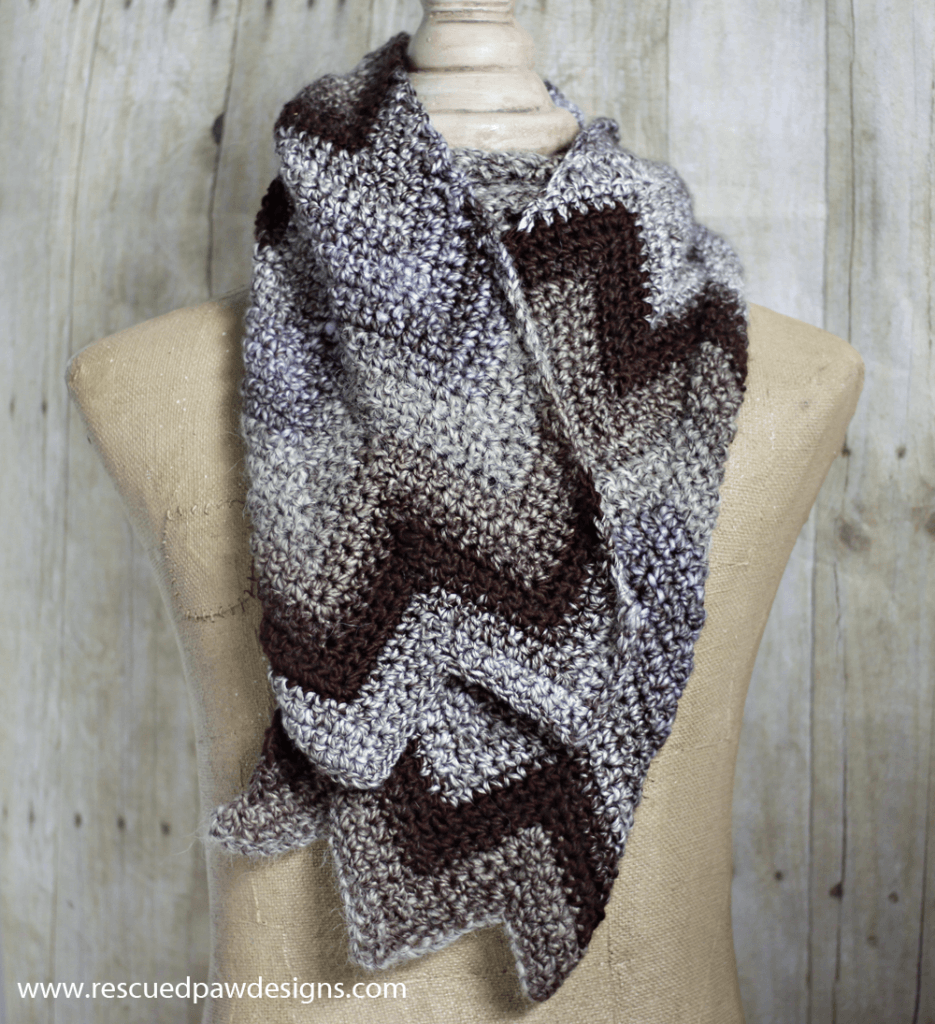 Crochet Chevron Scarf Pattern by Rescued Paw Designs