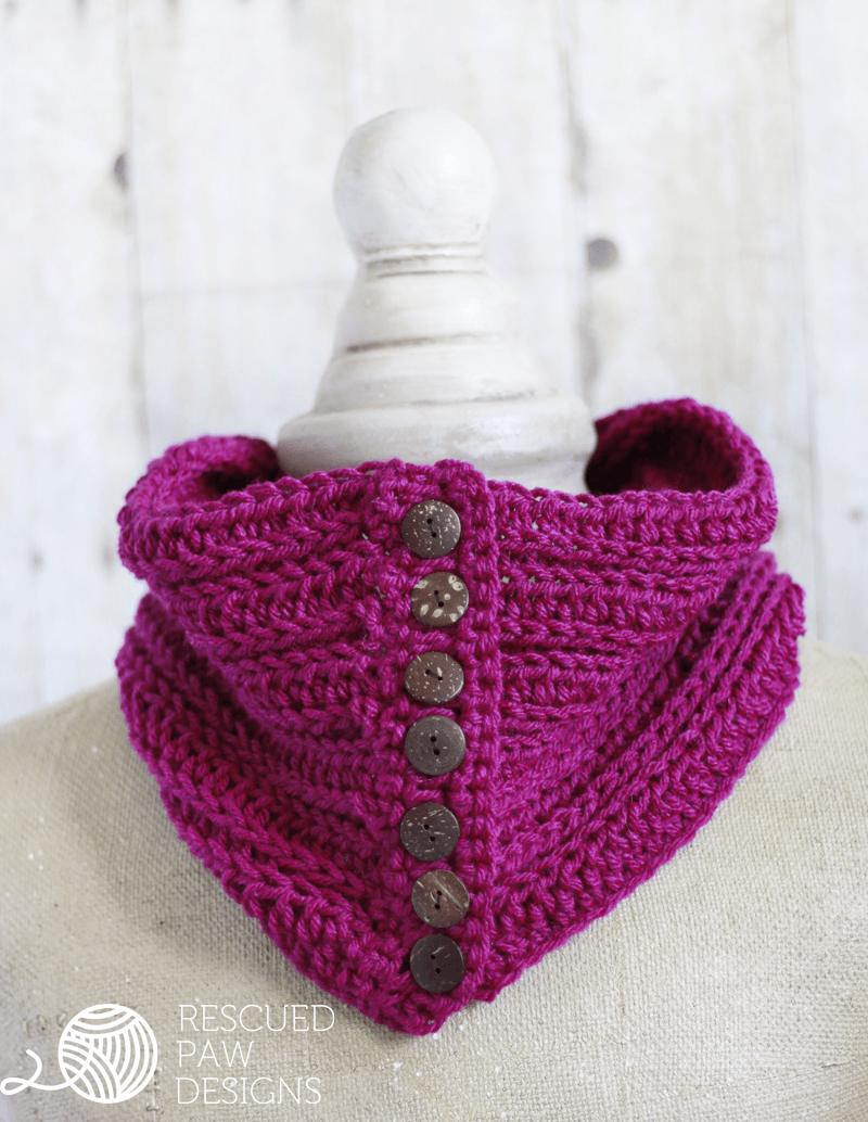 Penn Button Cowl || FREE CROCHET PATTERN || Rescued Paw Designs - Crochet Cowl Pattern