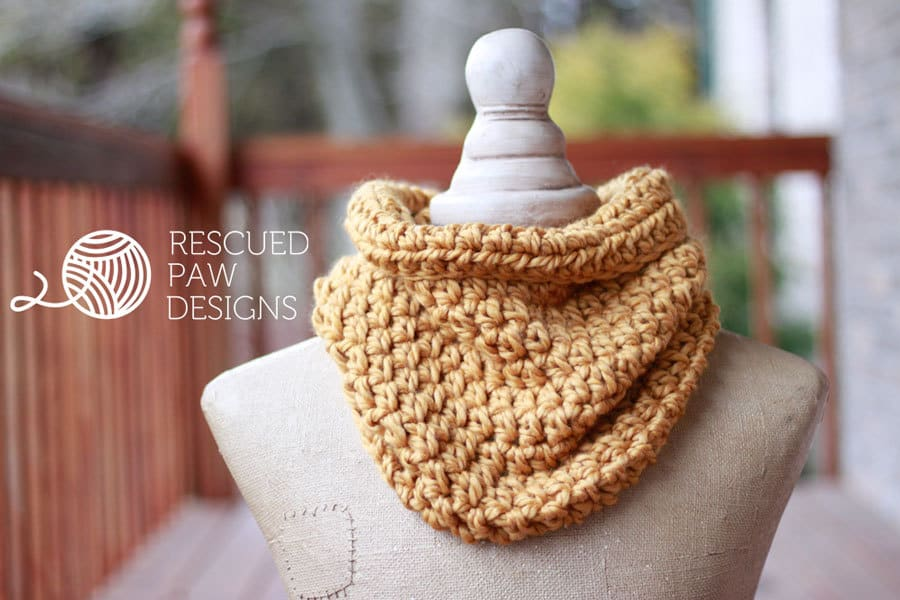 Quick One Hour Cowl Crochet Pattern by Rescued Paw Designs - Free Crochet Scarf Pattern