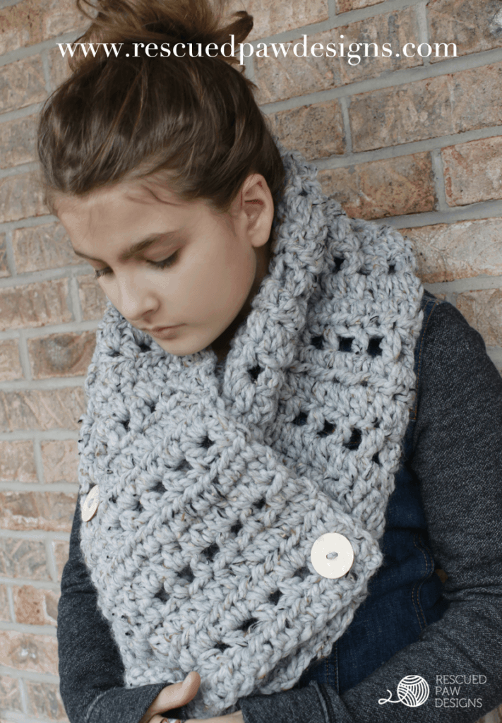 The Katie Button Cowl Chunky Crochet Pattern Rescued Paw Designs