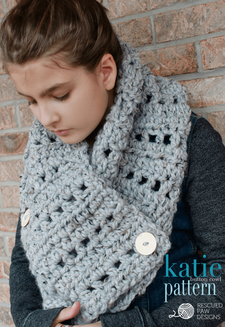 Free Crochet Pattern Button Scarf : The Katie Button Cowl - Crochet Pattern ? Rescued Paw ...