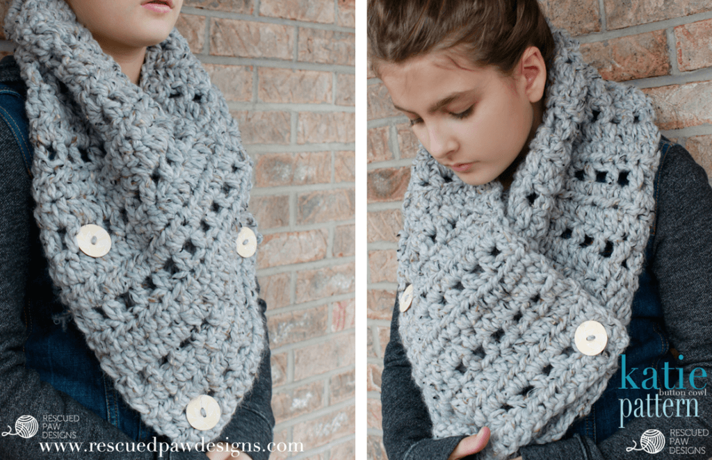 FREE CROCHET PATTERN || The Katie Button Cowl || Crochet Pattern by Rescued Paw Designs