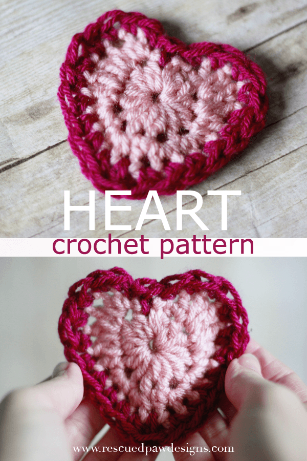 Valentine\'s Day Crochet Heart Pattern by Rescued Paw Designs #free ...