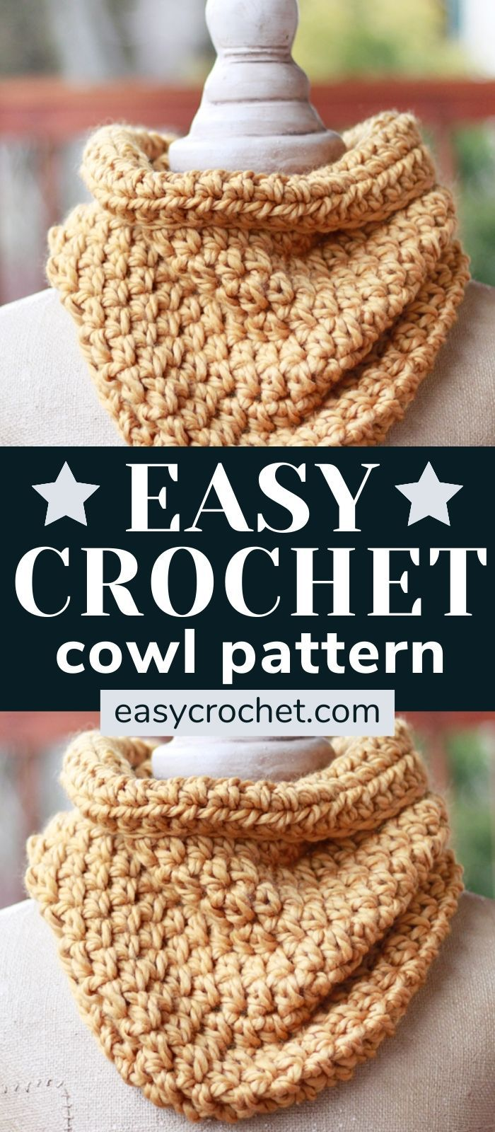 Make this beginner-friendly one hour cowl with our FREE crochet pattern for a chunky cowl! Uses only ONE stitch! Make one today! via @easycrochetcom