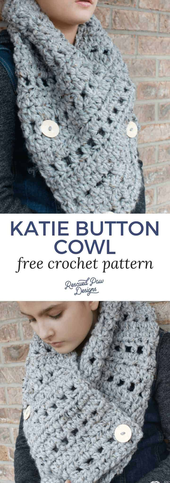 Katie Button Cowl - Free Crochet Pattern by Rescued Paw Designs - Stay Warm!
