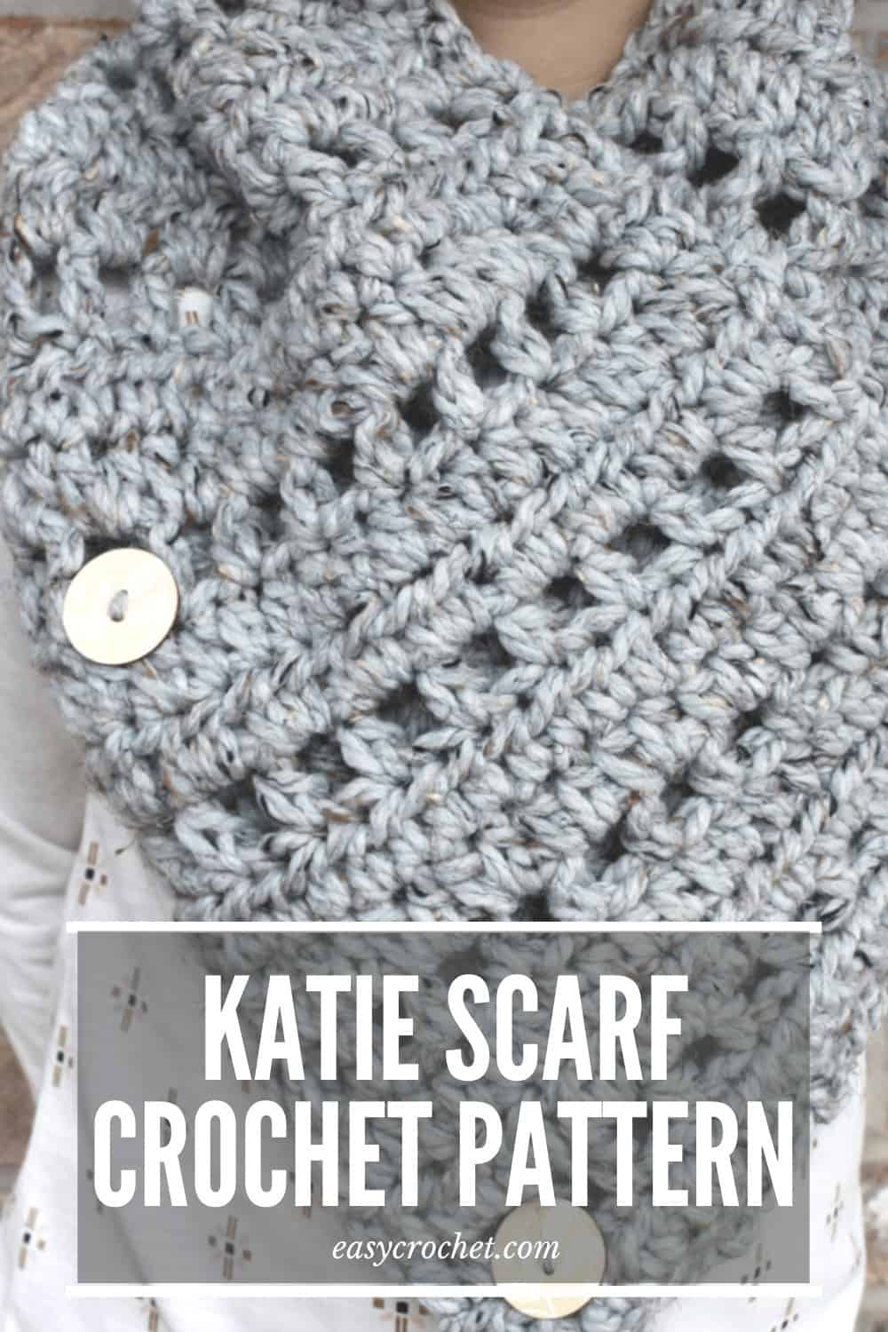Katie Scarf Free Crochet Scarf Pattern from Easy Crochet - Crochet this easy to make button scarf today! via @easycrochetcom