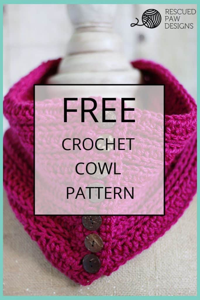 Learn how to make a Crochet Button Cowl Pattern by Rescued Paw Designs. Click to Read or Pin and Save for Later!