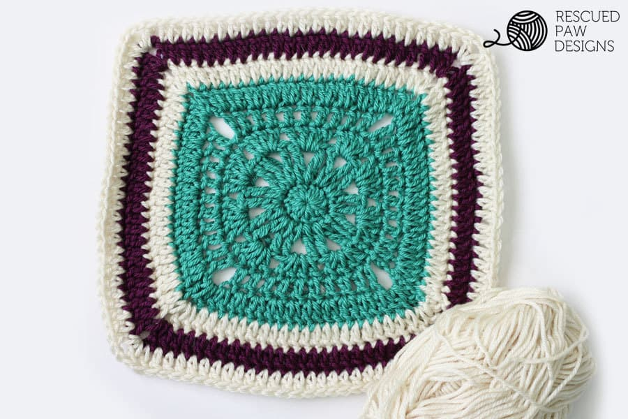 Free crochet blanket square pattern - 12 x 12 Free Crochet Blanket Square Pattern by Rescued Paw Designs || How to Crochet a Square