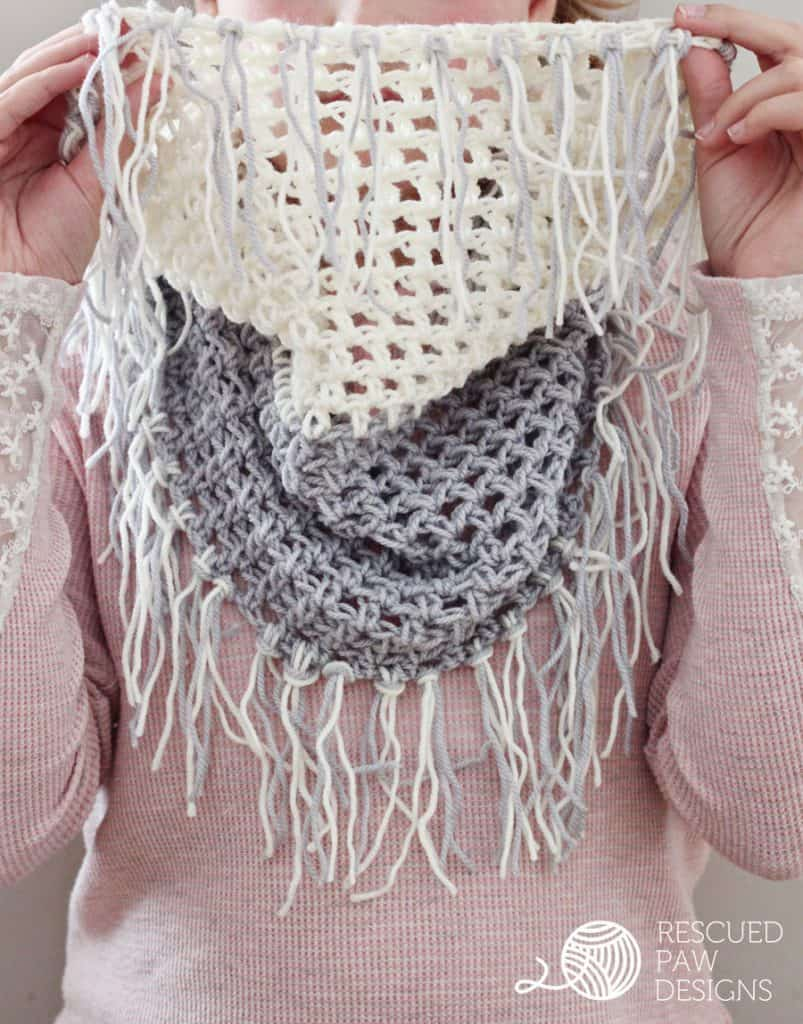 free crochet pattern for infinity scarf with fringe