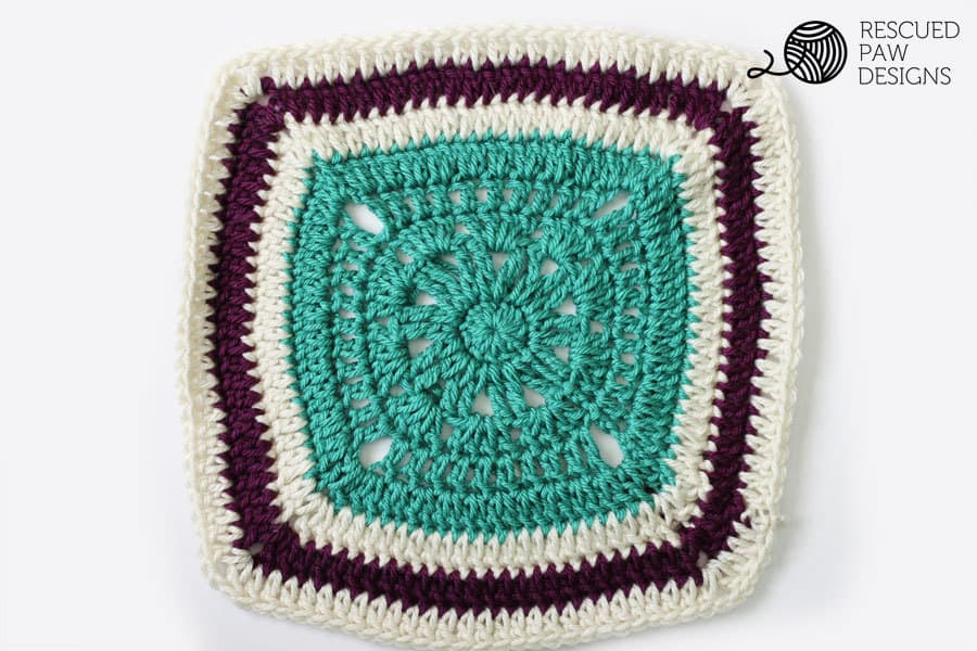 12 x 12 Free Crochet Blanket Square Pattern by Rescued Paw Designs || How to Crochet a Square