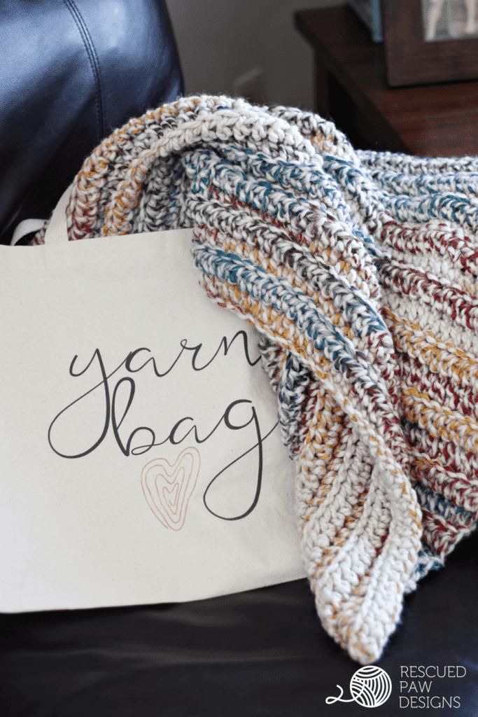 Chunky Yarn Crochet Blanket Pattern in a Tote