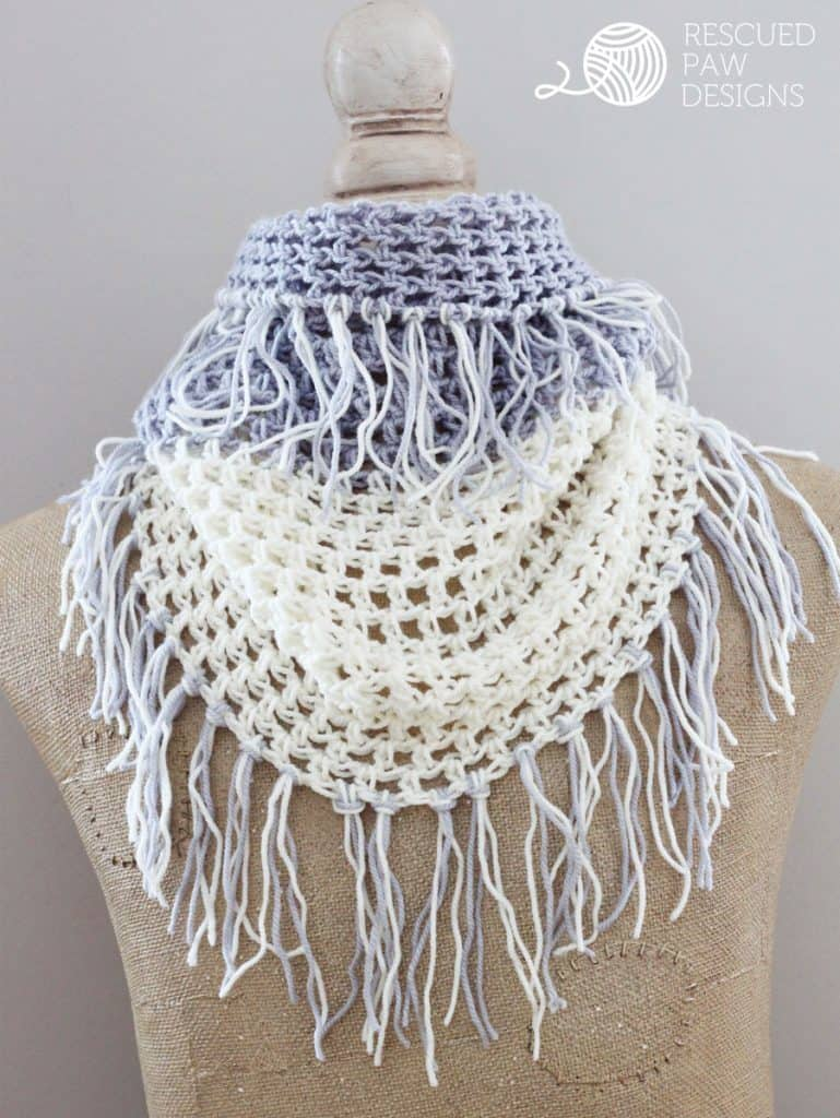 Free Crochet Pattern Fringed Cowl : Crochet Cowl Pattern - The Gracelyn Fringe - Rescued Paw ...