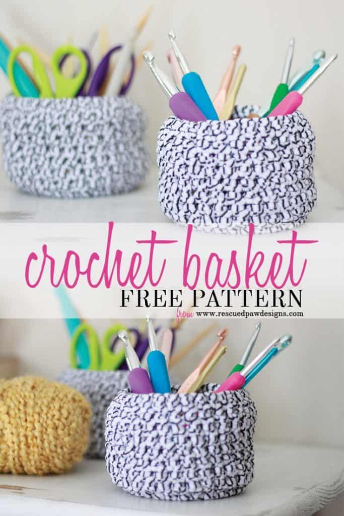 Crochet Basket Pattern by Rescued Paw Designs - Crochet Basket FREE Tutorial and Pattern