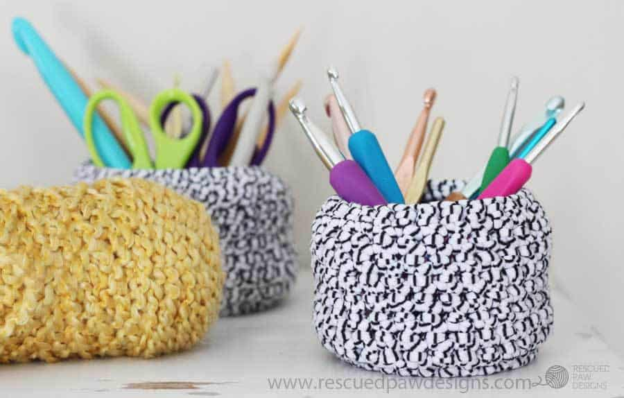 Crochet Basket Pattern - Free Crochet Basket Pattern - How to Make a Crochet Basket by Rescued Paw Designs. www.rescuedpawdesigns.com