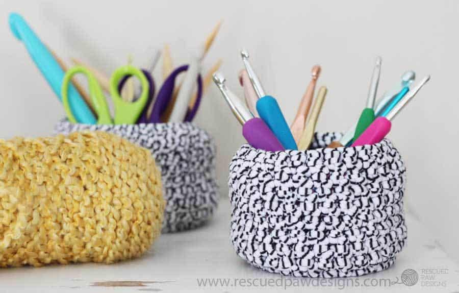 Crochet Basket Pattern - Free Crochet Basket Pattern - How to Make a Crochet Basket by Rescued Paw Designs. www.rescuedpawdesigns.com