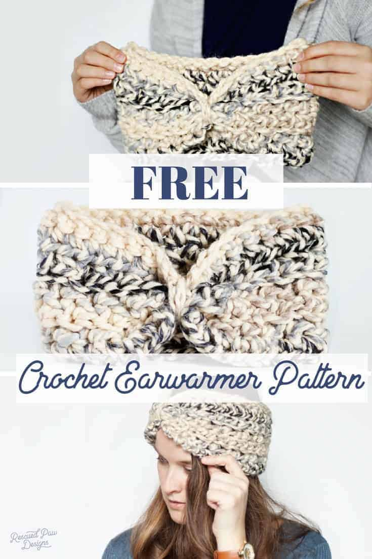 Free Crochet Earwarmer Pattern by Rescued Paw Designs - www.rescuedpawdesigns.com