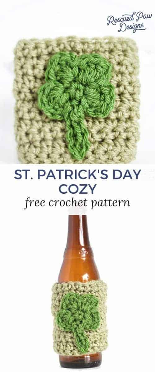 Collage of a Crochet cozy St. Patrick's Day Pattern