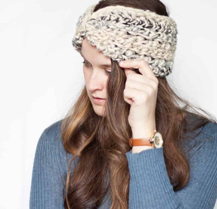 Brown and Cream Crochet Cotton Ear Warmer One Size Fits Most