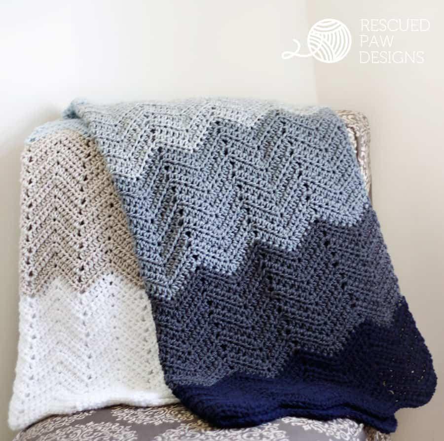 Crochet Ripple Blanket Free Crochet Pattern By Rescued