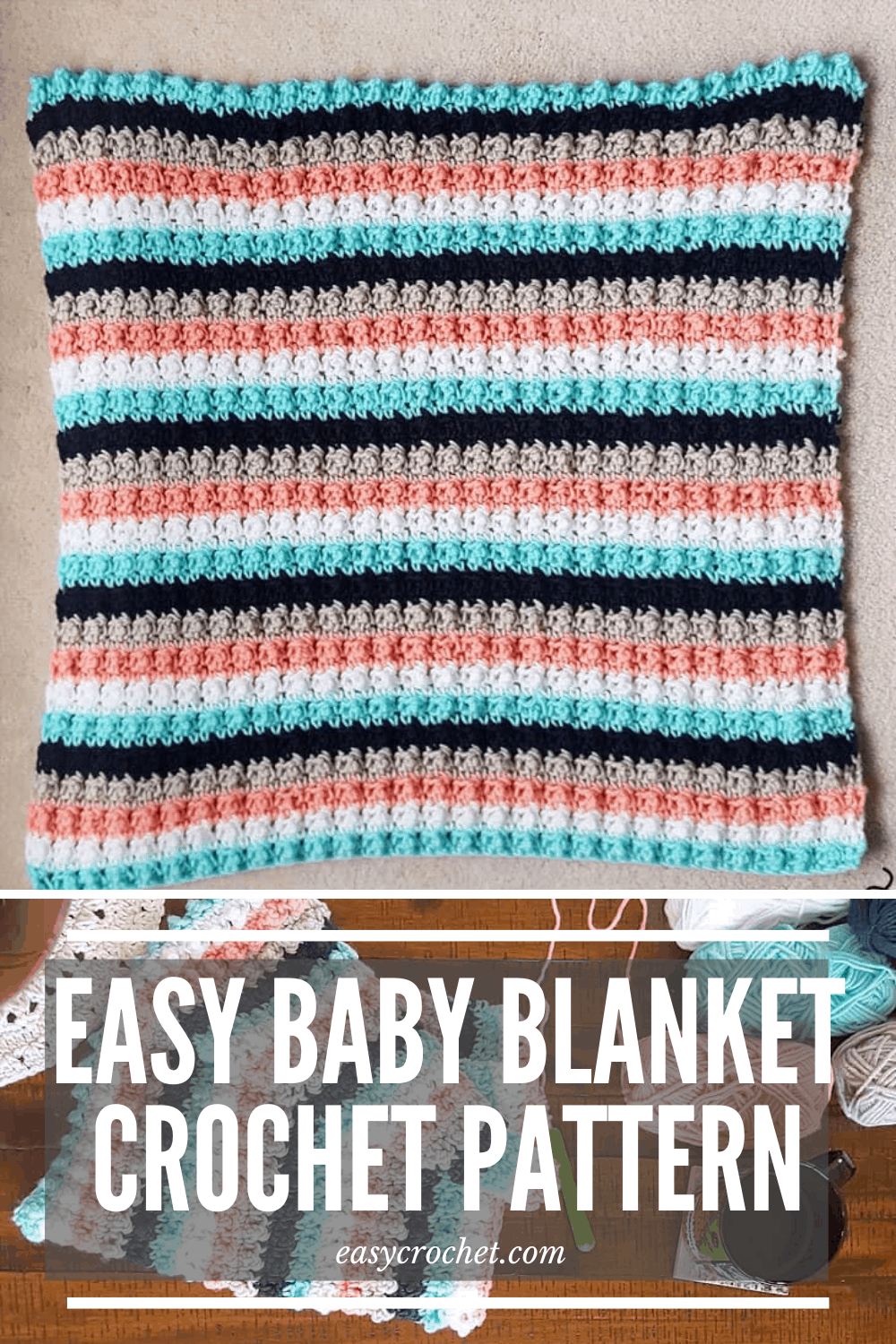 Easy Crochet Baby Blanket Pattern - Free striped crochet baby blanket pattern using simple stitches from Easy Crochet! via @easycrochetcom