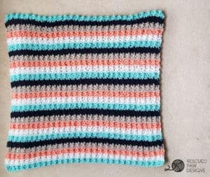 Striped Crochet Baby Blanket Throw Blanket by Rescued Paw Designs www.rescuedpawdesigns.com