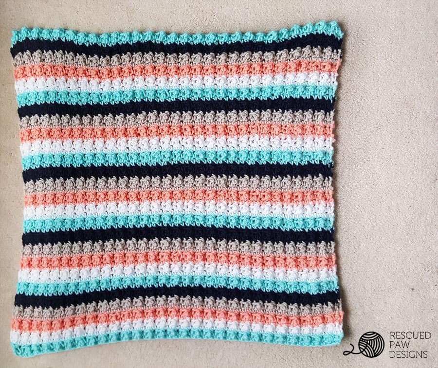 Striped Crochet Baby Blanket Throw Blanket by Rescued Paw Designs www.rescuedpawdesigns.com