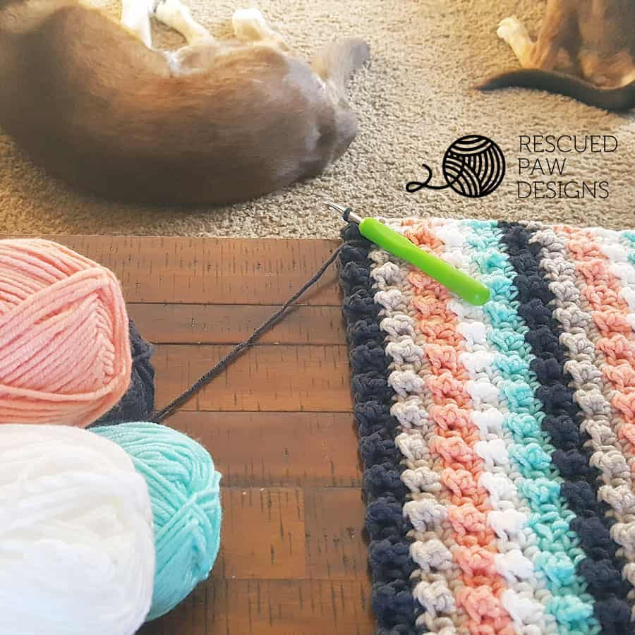 Crochet Baby Blanket with Stripes