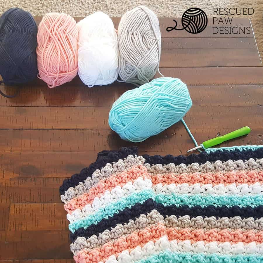 Striped Crochet Baby Blanket with Big Twist Yarn