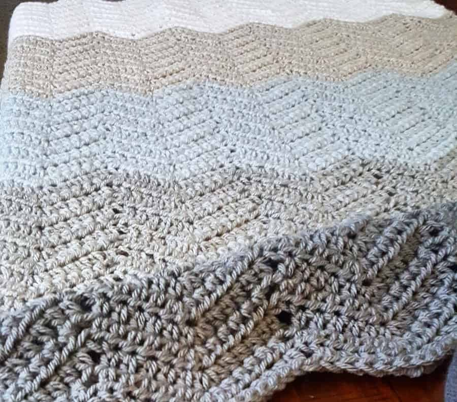 Chevron Crochet Blanket Grey and White