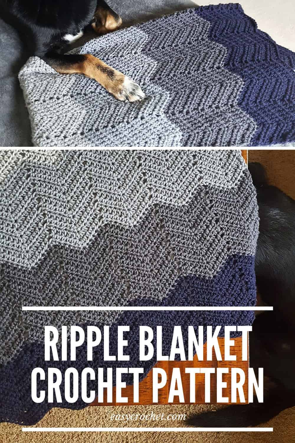 Crochet this easy ombre ripple blanket with this FREE crochet blanket pattern from Easy Crochet via @easycrochetcom