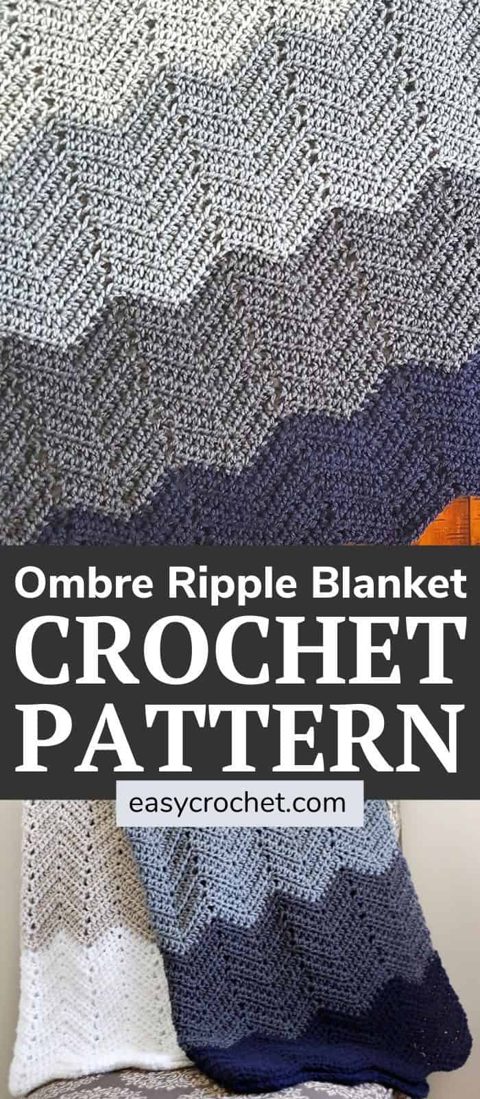 Crochet this easy ombre ripple blanket with this FREE crochet blanket pattern from Easy Crochet via @easycrochetcom