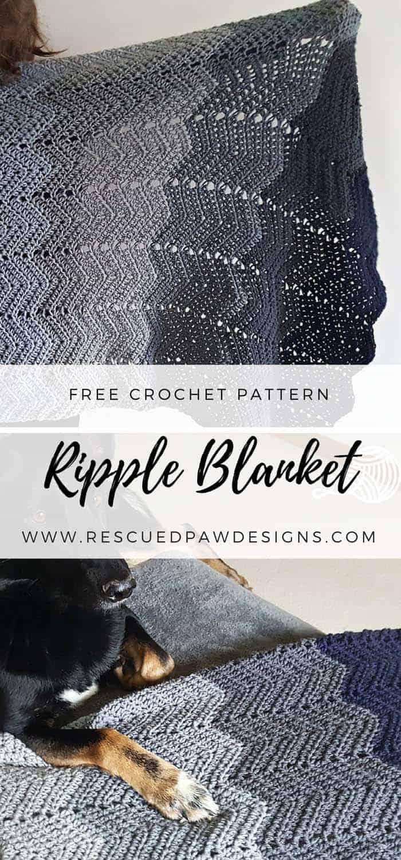 Ombre Ripple Crochet Blanket Pattern - Free CROCHET pattern!