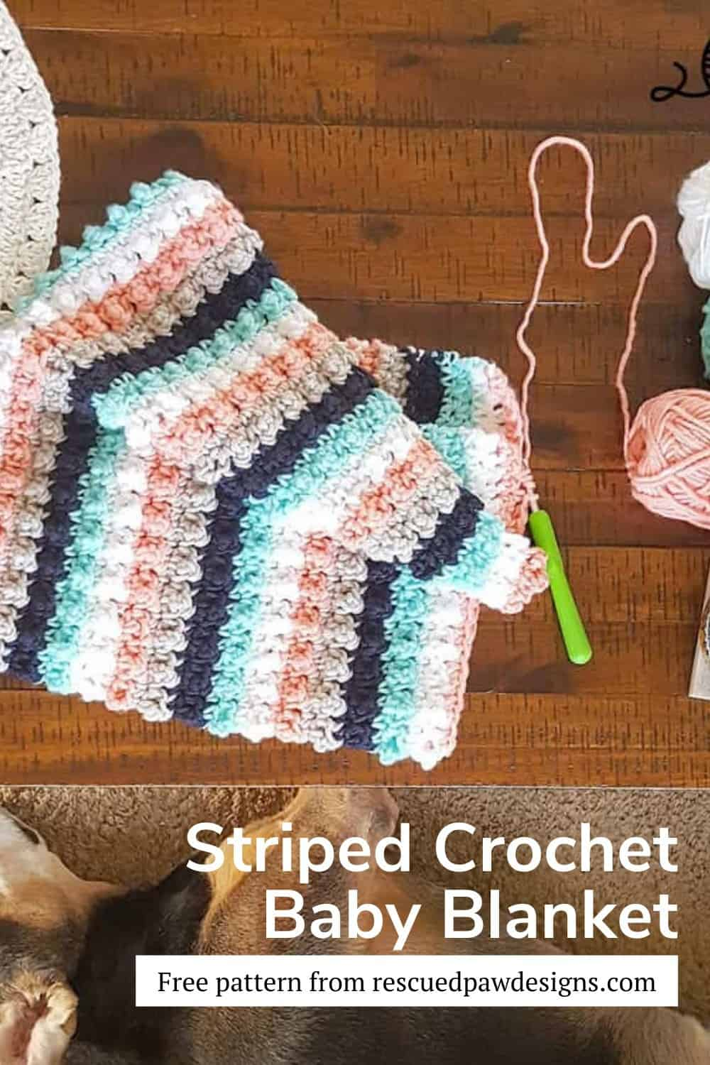 Free Crochet Baby Blanket Pattern worked with simple stripes. via @rescuedpaw