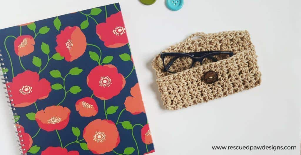 Glasses Case Crochet Pattern by Rescued Paw Designs. Click to Read or Pin and Save for Later!
