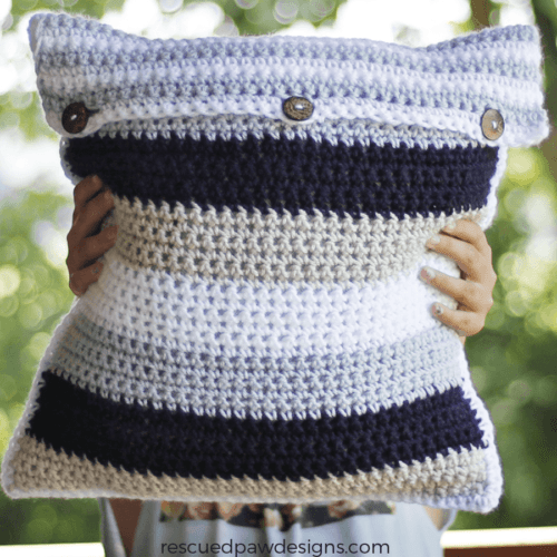 Striped Crochet Pillow Cover