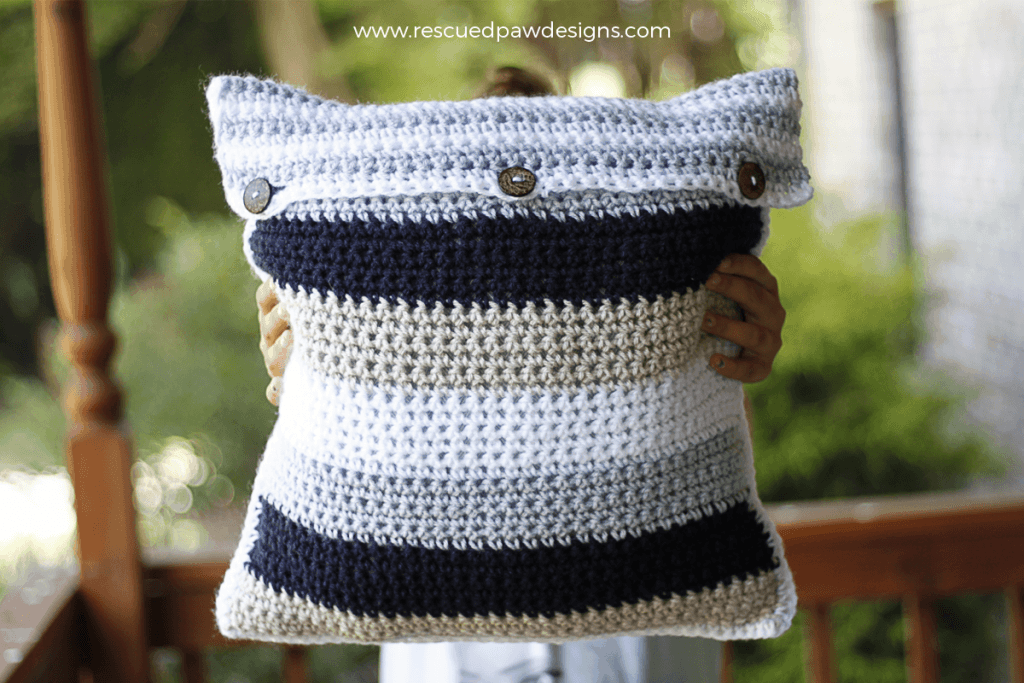 Crochet Pillow Cover with Buttons