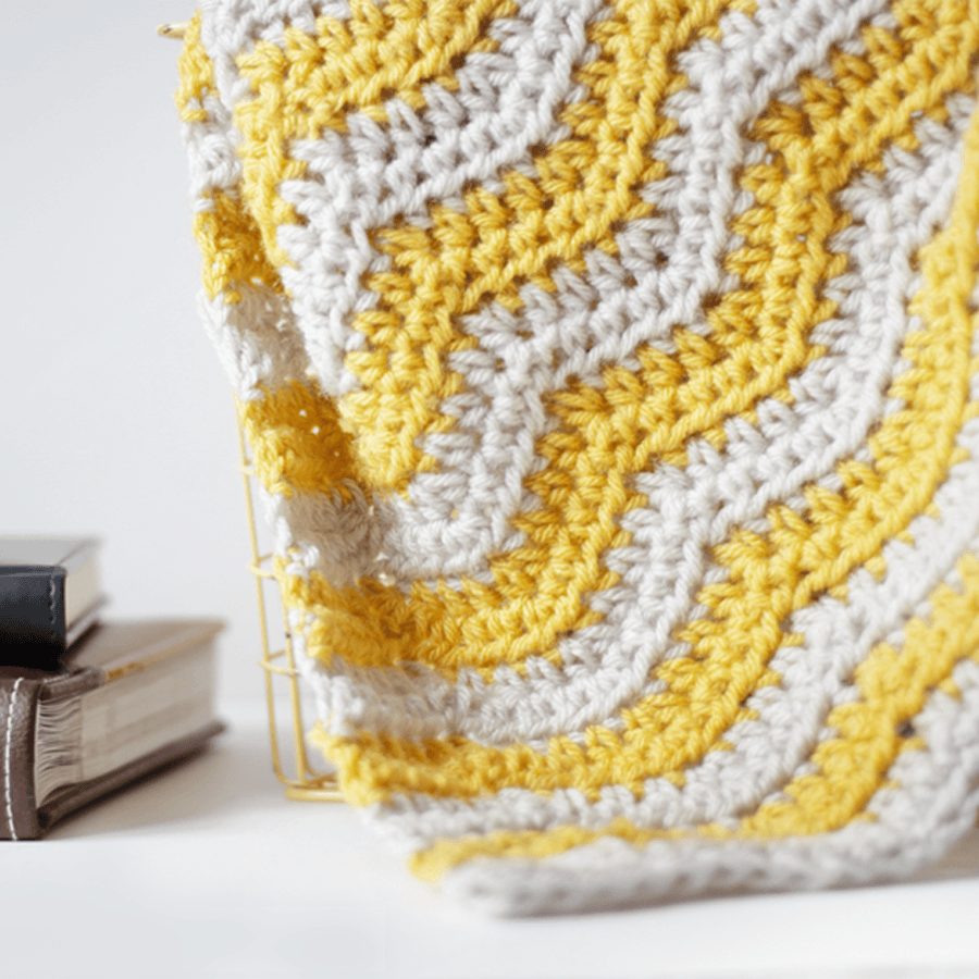 Yellow Ripple Baby Blanket Crochet Pattern