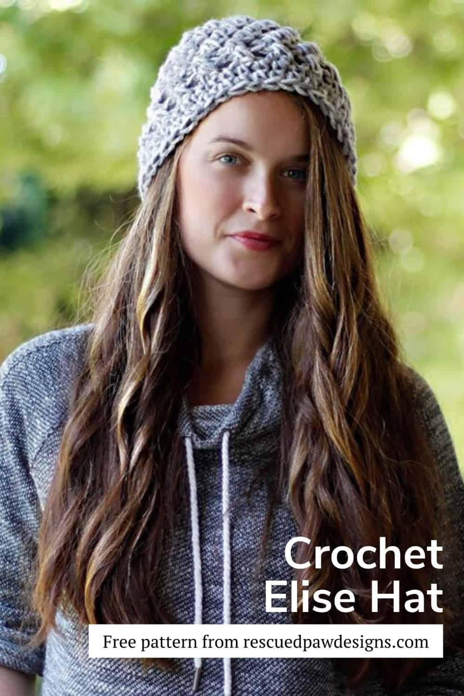 Elise Free Crochet Beanie Pattern via @easycrochetcom