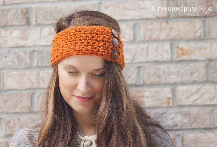 Pumpkin Latte Crochet Ear Warmer Pattern by Rescued Paw Designs. Click to Read or Pin and Save for Later! www.rescuedpawdesigns.com