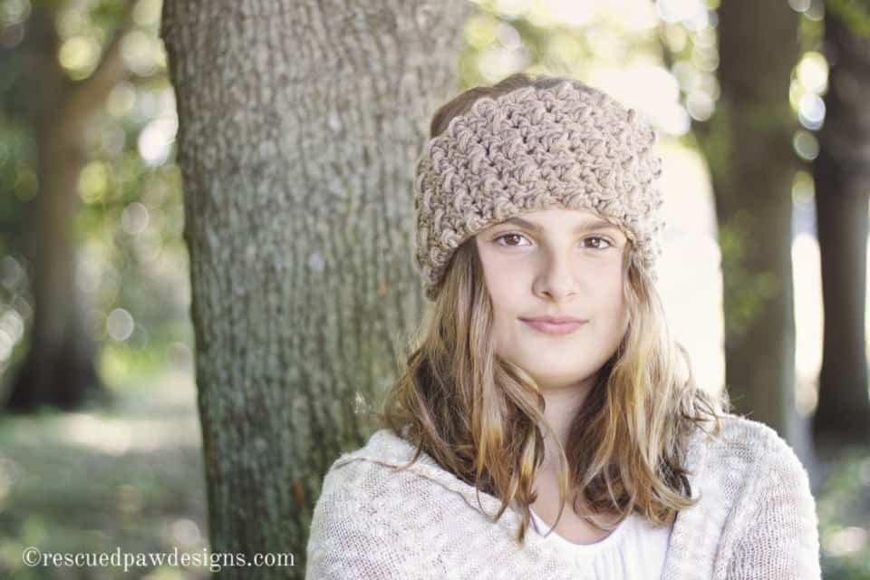 Crochet Earwarmer Headband by Rescued Paw Designs using the Modified Puff Stitch