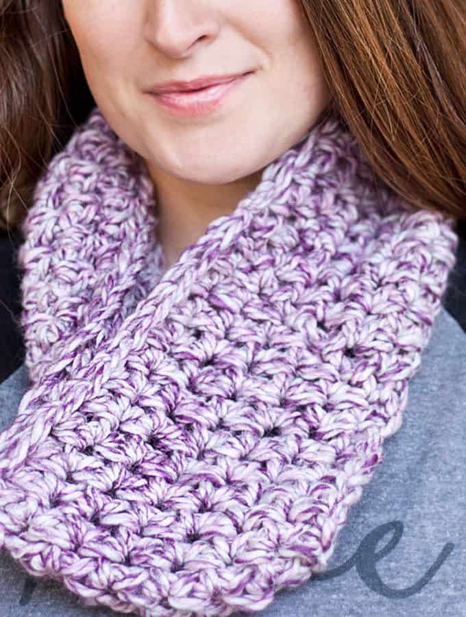 Marbled Dusk Simple Crochet Cowl