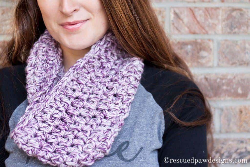 Marbled Dusk Simple Crochet Cowl by Rescued Paw Designs. Simple Beginner Crochet Pattern