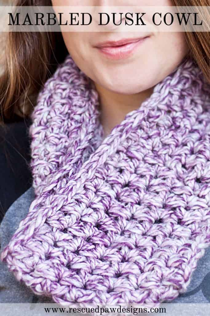 Beginner Crochet Patterns Cowl : Marbled Dusk Simple Crochet Cowl - Rescued Paw Designs