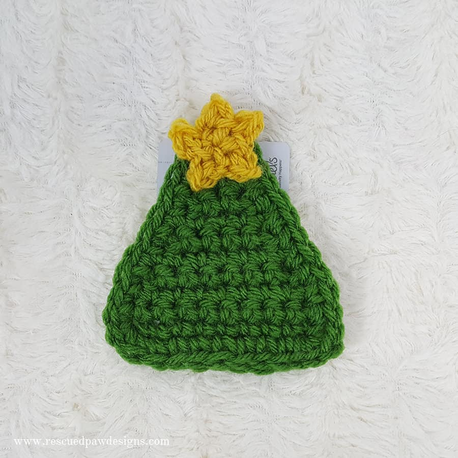 Free Crochet Christmas Tree Gift Card Holder by Rescued Paw Designs www.rescuedpawdesigns.com