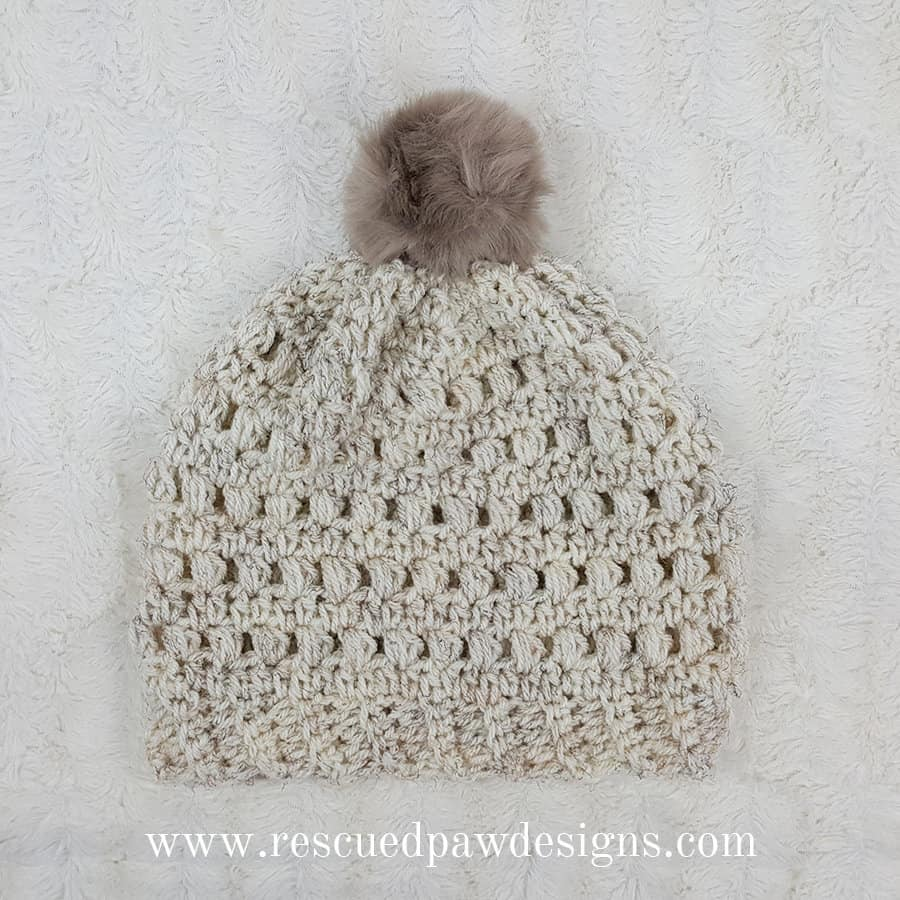 Crochet Puff Stitch Beanie - Rescued Paw Designs - Make this crochet hat with this FREE pattern!