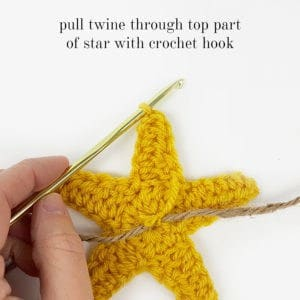 Crochet Star - Pull Twine through top part of star - Rescued Paw Designs