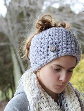 1 Hour Crochet Messy Bun Beanie