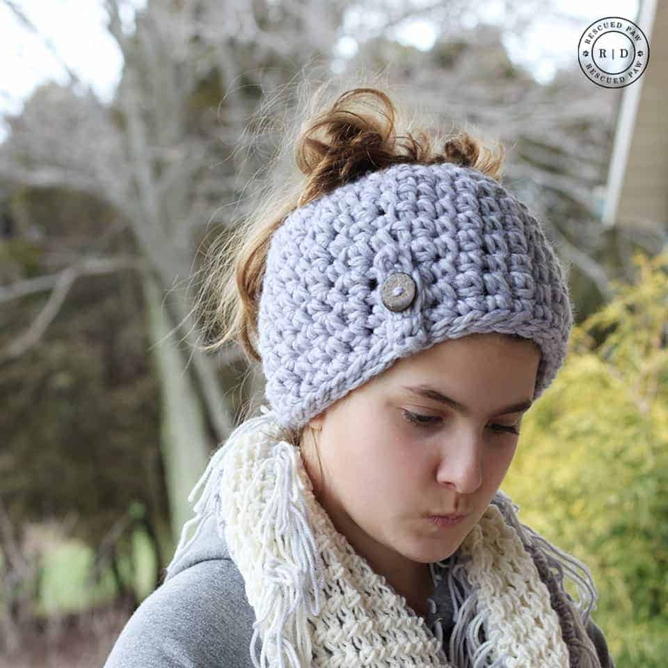 1 Hour Crochet Messy Bun Beanie Crochet Pattern -