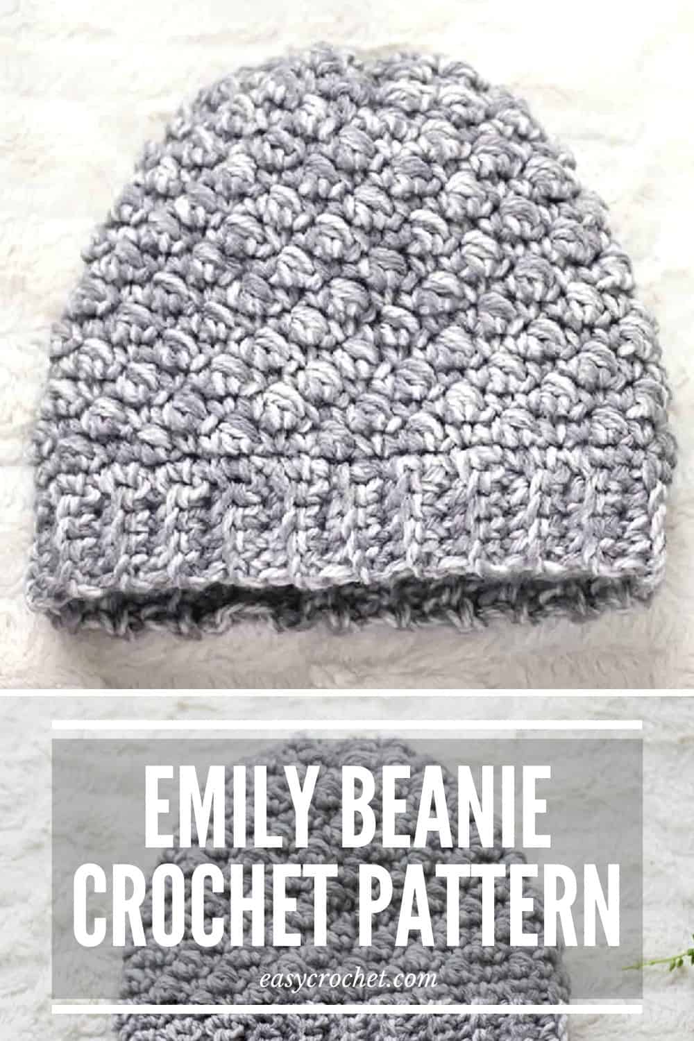 Emily Beanie Crochet Pattern - Make this free crochet hat pattern using a free crochet pattern from Easy Crochet- easycrochet.com via @easycrochetcom