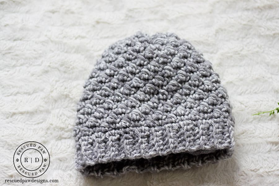 Emily Diagonal Beanie Crochet Pattern by Rescued Paw Designs.
